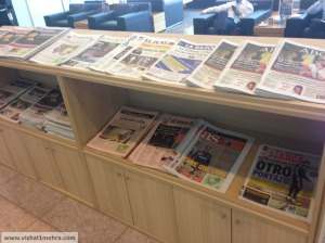 Iberia Barcelona Lounge - magazine shelf