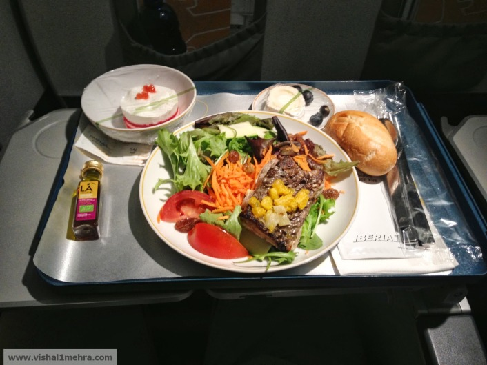 Iberia domestic business class dinner meal
