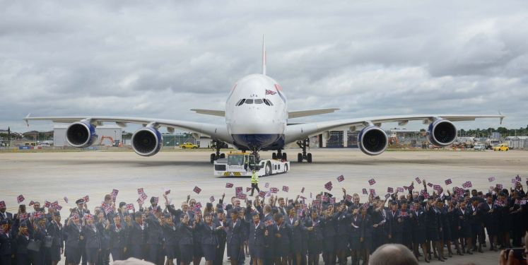 An Airbus A380 is greeted at London Heathrow. Image Source: Airbus