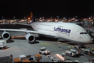 A Lufthansa A380 parked at Frankfurt Airport. Picture Courtesy: Airliners.net
