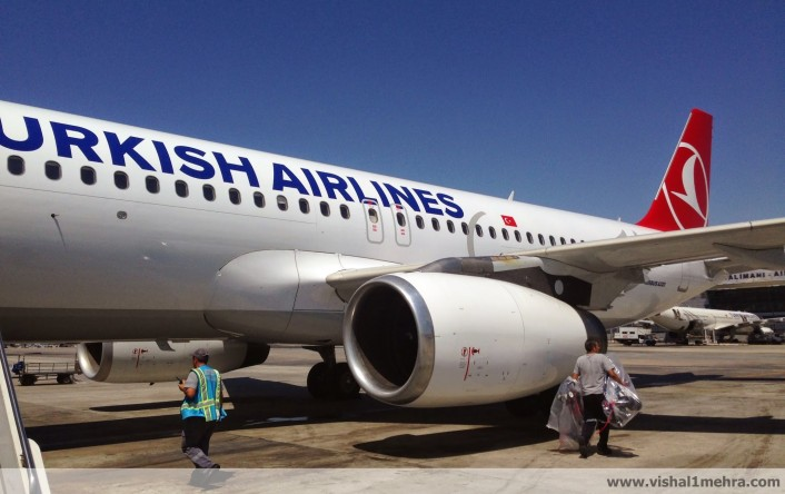 Turkish Airlines A320-200, parked remotely at IST