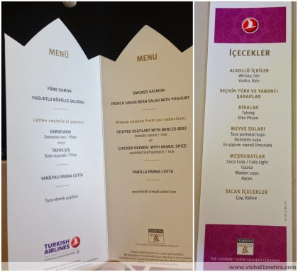 Turkish Airlines A320 Economy Lunch Menu