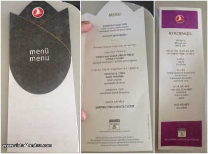 Turkish Airlines Breakfast Menu (Economy)