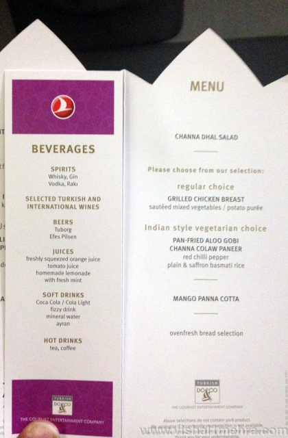 Turkish Airlines A330 - Economy Class Dinner menu