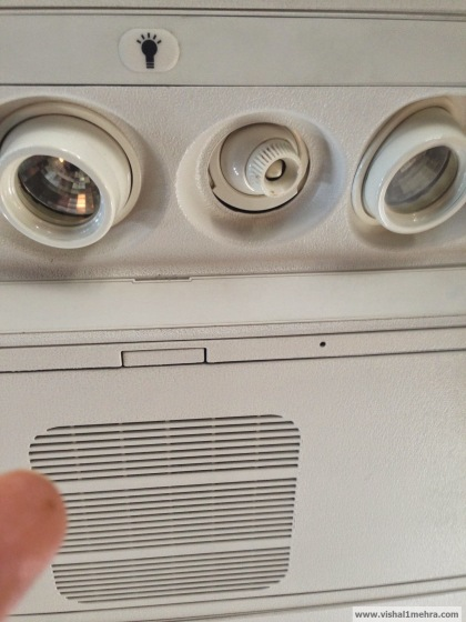 Jet Airways Domestic - Faulty overhead knob