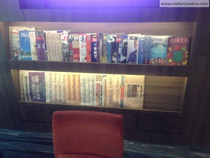 Plaza Premium Lounge Delhi -  Magazine Stand