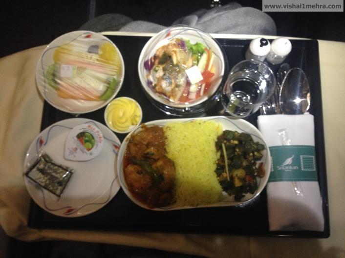 SriLankan A320 Business Class - Dinner