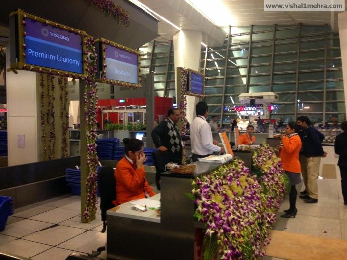 Vistara check-in counters at Delhi T3