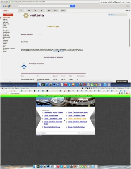 Vistara check-in email, and the spammy link.